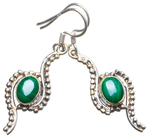 "Natural Malachite Handmade Unique 925 Sterling Silver Earrings 1.75"" X3975"