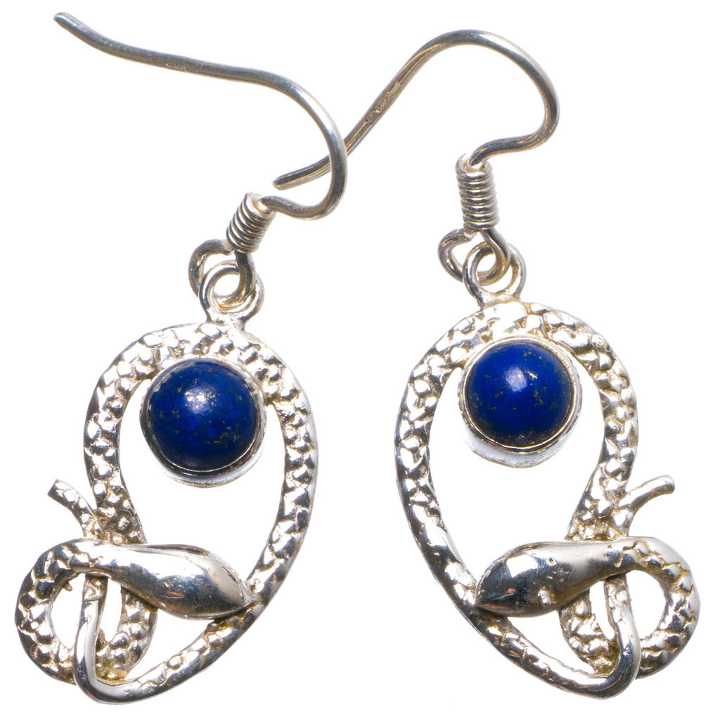 Natural Lapis Lazuli  Handmade Unique 925 Sterling Silver Earrings 1.75