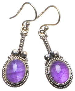 "Natural Amethyst Handmade Unique 925 Sterling Silver Earrings 1.75"" X4058"