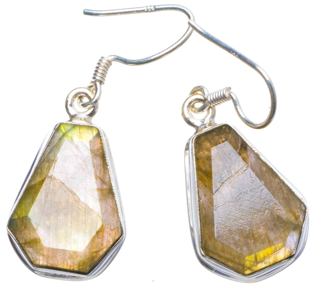 Natural Labradorite Handmade Unique 925 Sterling Silver Earrings 1.5