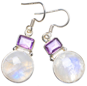 "Natural Rainbow Moonstone and Amethyst Handmade Unique 925 Sterling Silver Earrings 1.25"" X4094"