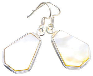 "Natural Mother Of Pearl Handmade Unique 925 Sterling Silver Earrings 1.5"" X4128"