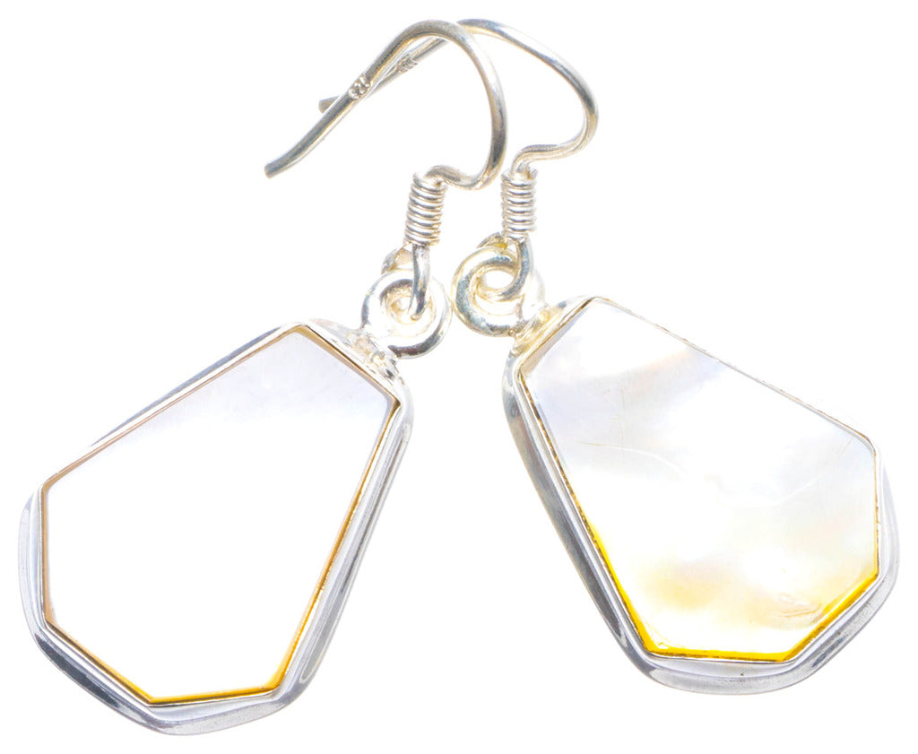 Natural Mother Of Pearl Handmade Unique 925 Sterling Silver Earrings 1.5