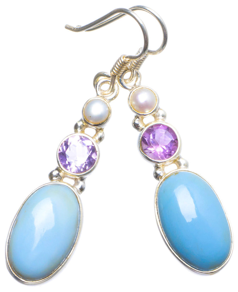 Natural Owhyee Opal, Amethyst and River Pearl Handmade Unique 925 Sterling Silver Earrings 1.75
