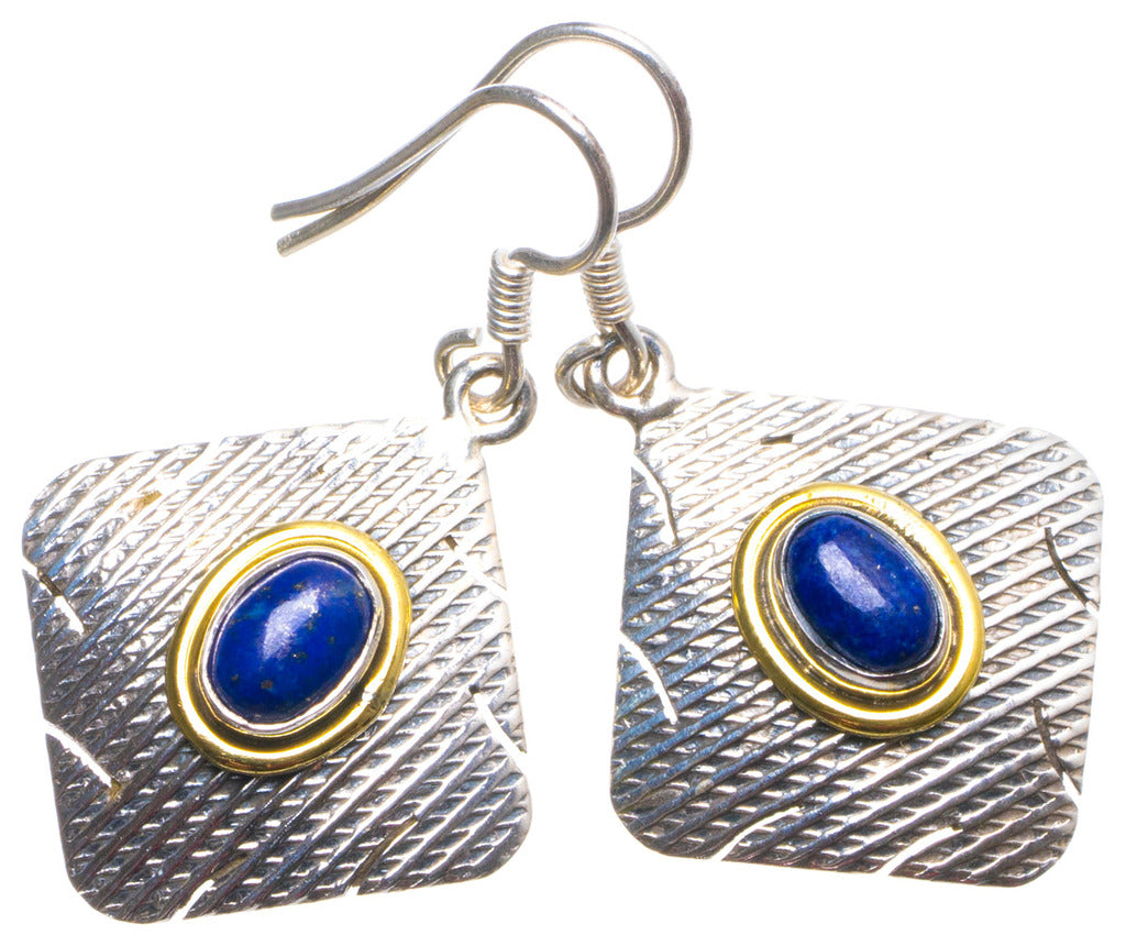Natural Two Tones Lapis Lazuli Handmade Unique 925 Sterling Silver Earrings 1.5