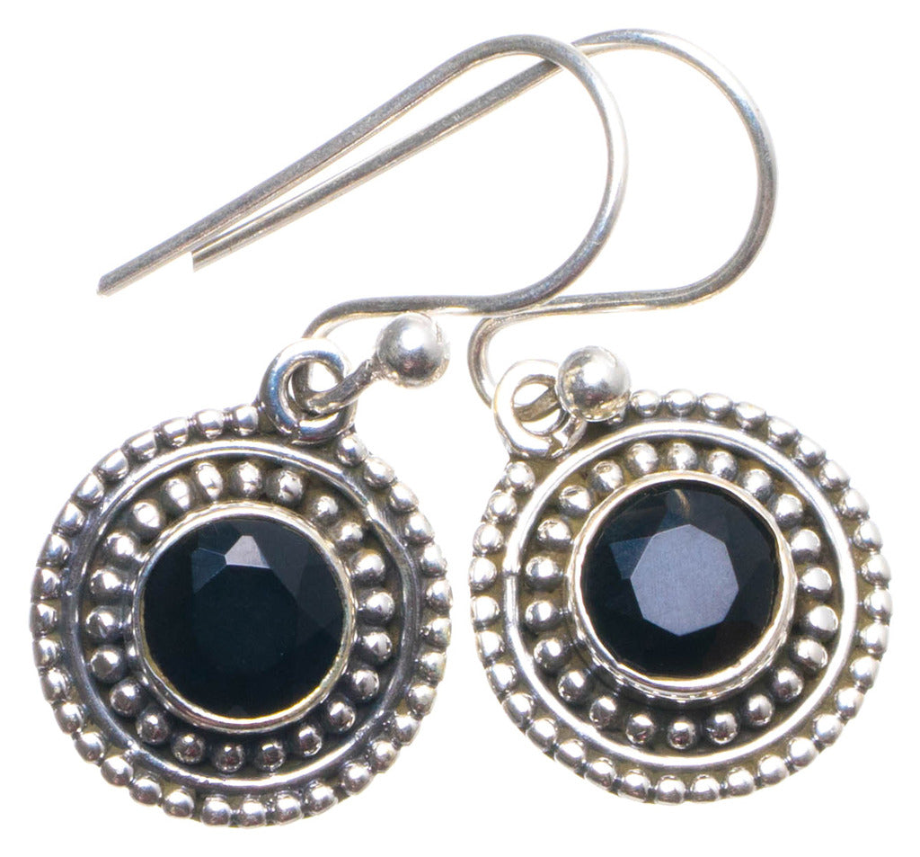 Natural Black Onyx Handmade Unique 925 Sterling Silver Earrings 1