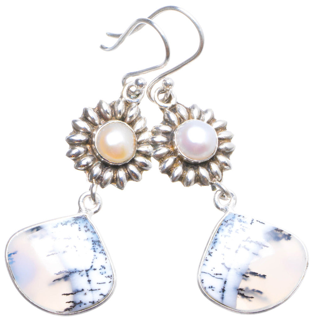 Natural Dendritic Opal and River Pearl Handmade Unique 925 Sterling Silver Earrings 2