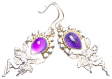 "Natural Amethyst Handmade Unique 925 Sterling Silver Earrings 1.75"" X4225"