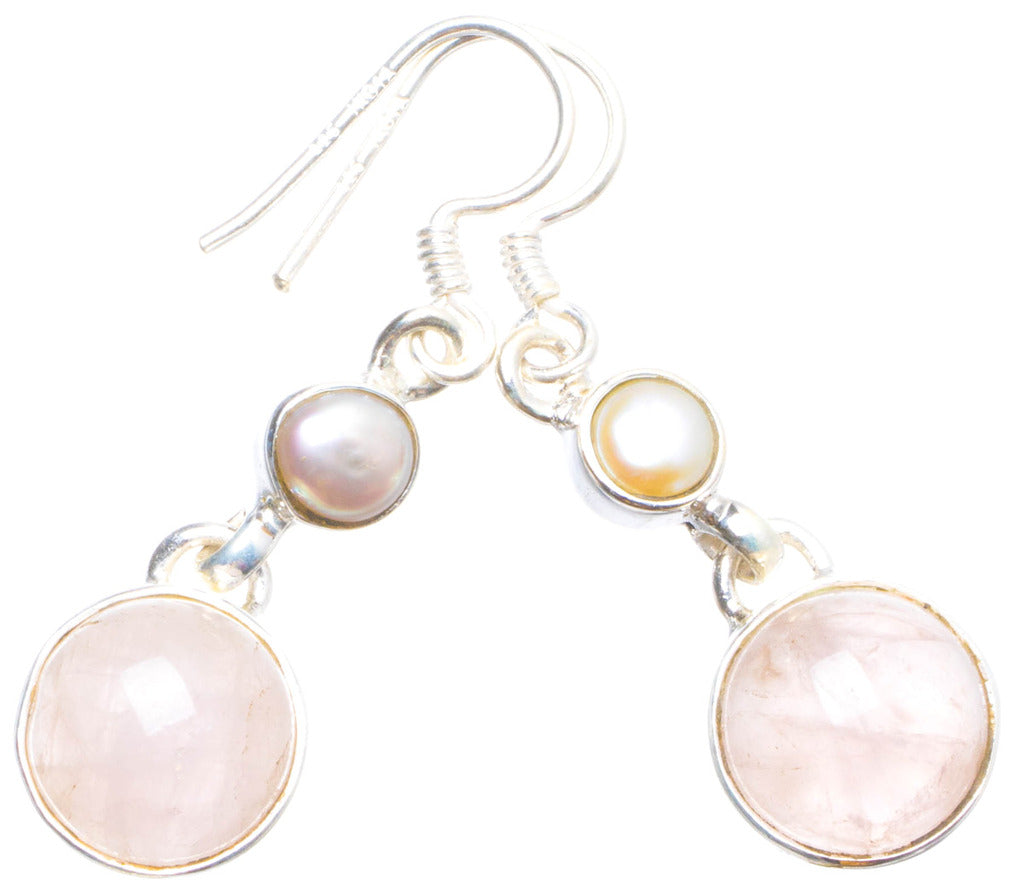 Natural Rose Quartz and Biwa Pearl Handmade Unique 925 Sterling Silver Earrings 1.5