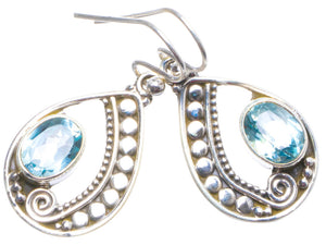"Natural Blue Topaz Handmade Unique 925 Sterling Silver Earrings 1.25"" X4319"