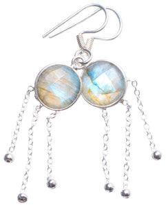 "Natural Labradorite Handmade Unique 925 Sterling Silver Earrings 1.75"" X4322"