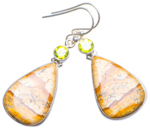 "Natural Picture Jasper and Peridot Handmade Unique 925 Sterling Silver Earrings 2"" X4373"