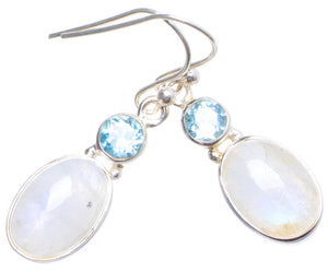 "Natural Rainbow Moonstone and Blue Topaz Handmade Unique 925 Sterling Silver Earrings 1.25"" X4383"