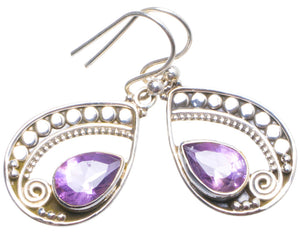 "Natural Amethyst Handmade Unique 925 Sterling Silver Earrings 1.25"" X4385"