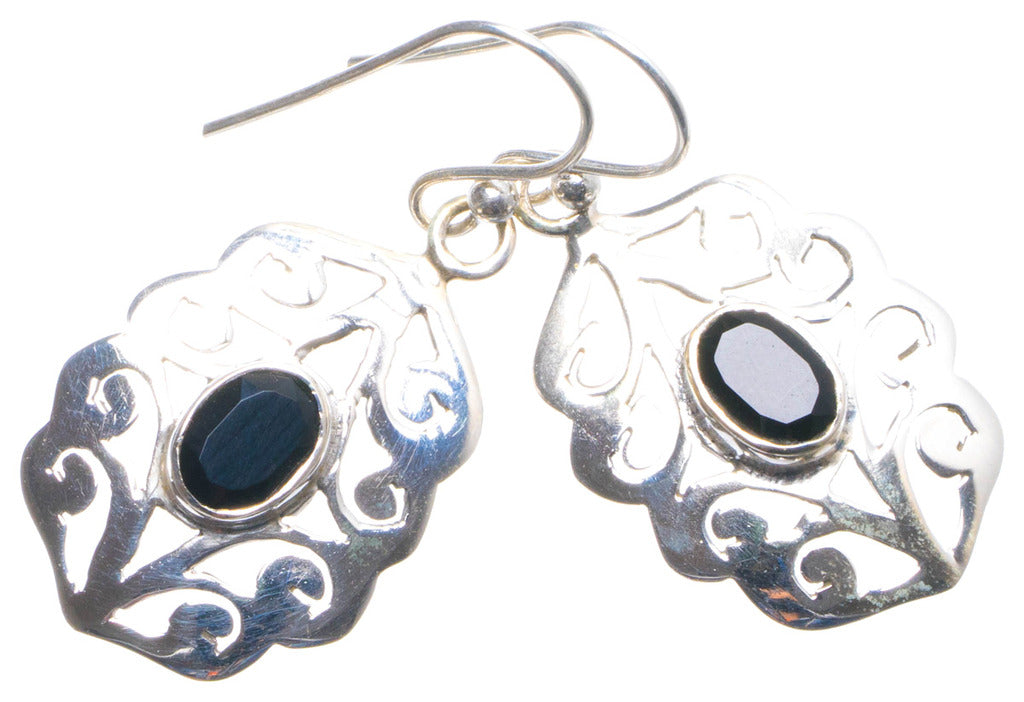 Natural Black Onyx Handmade Unique 925 Sterling Silver Earrings 1.25