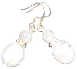 "Natural Rainbow Moonstone Handmade Unique 925 Sterling Silver Earrings 1.5"" X4454"