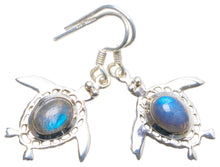 "Natural Blue Fire Labradorite Handmade Unique 925 Sterling Silver Earrings 1.5"" X4532"