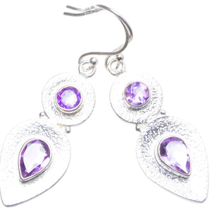 "Natural Amethyst Handmade Unique 925 Sterling Silver Earrings 2"" X4558"