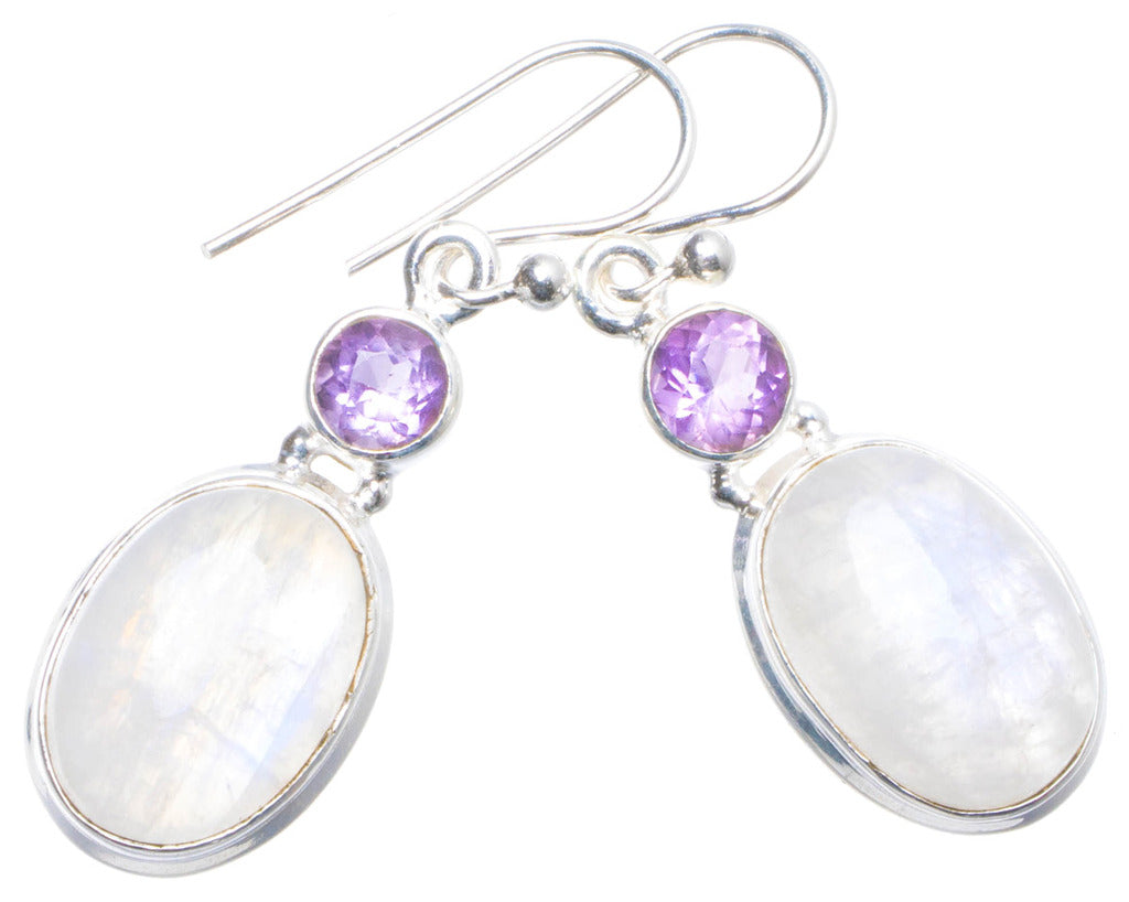 Natural Rainbow Moonstone and Amethyst Handmade Unique 925 Sterling Silver Earrings 1.5