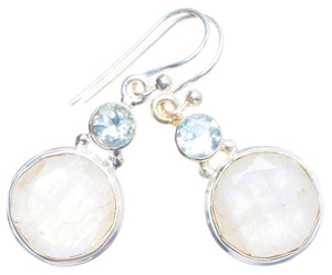 "Natural Rainbow Moonstone and Blue Topaz Handmade Unique 925 Sterling Silver Earrings 1.25"" X4626"