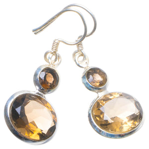 "Natural Smoky Quartz Handmade Unique 925 Sterling Silver Earrings 1.25"" X4640"