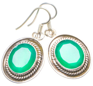 "Natural Chrysoprase Handmade Unique 925 Sterling Silver Earrings 1.25"" X4646"
