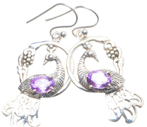 "Natural Amethyst Handmade Unique 925 Sterling Silver Earrings 1.75"" X4669"