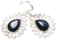 "Natural Black Onyx Handmade Unique 925 Sterling Silver Earrings 1.75"" X4676"