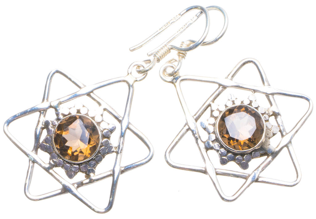 Natural Smoky Quartz Handmade Unique 925 Sterling Silver Earrings 1.75