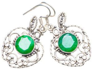 "Natural Emerald Handmade Unique 925 Sterling Silver Earrings 1.5"" X4749"