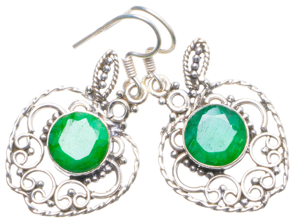 Natural Emerald Handmade Unique 925 Sterling Silver Earrings 1.5