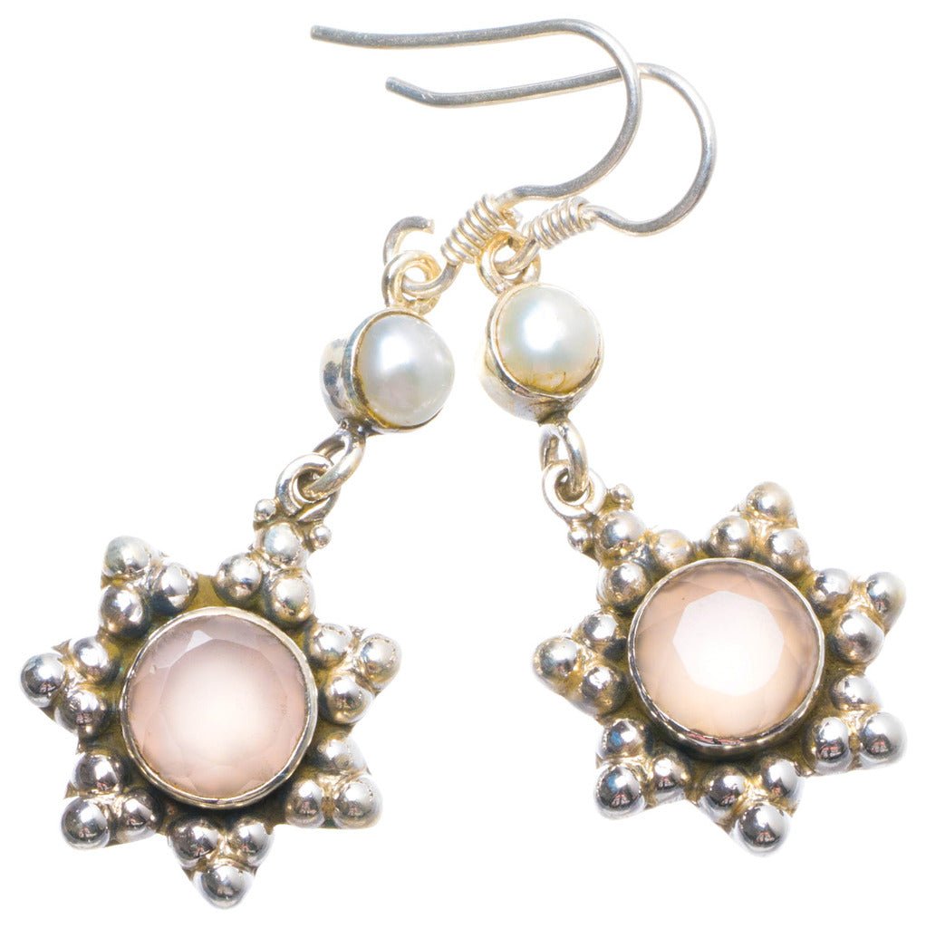 Natural Rose Quartz and River Pearl Handmade Unique 925 Sterling Silver Earrings 1.75