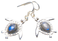 "Natural Blue Fire Labradorite Handmade Unique 925 Sterling Silver Earrings 1.25"" X4858"