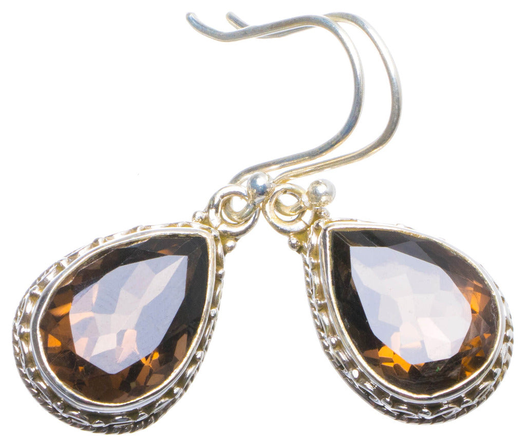 Natural Smoky Quartz Handmade Unique 925 Sterling Silver Earrings 1.25