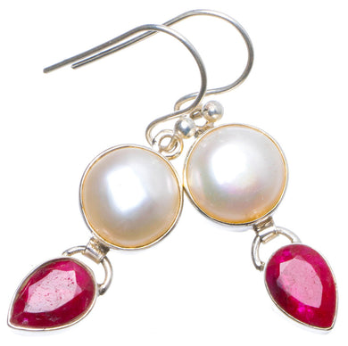 Natural River Pearl and Cherry Ruby Handmade Unique 925 Sterling Silver Earrings 1.5
