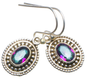 "Natural Mystical Topaz Handmade Unique 925 Sterling Silver Earrings 1"" X4912"