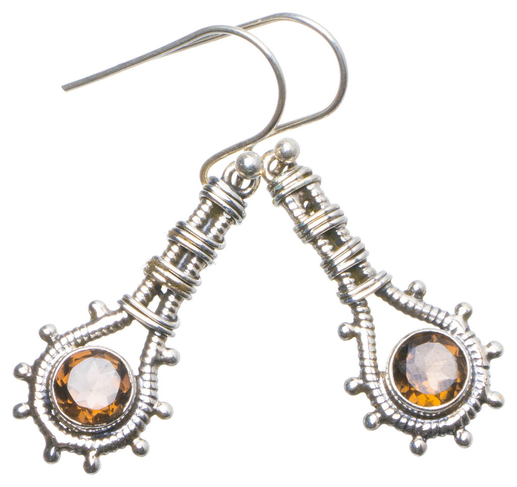 Natural Smoky Quartz Handmade Unique 925 Sterling Silver Earrings 1.5