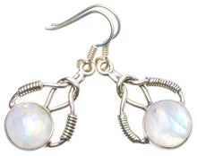 "Natural Rainbow Moonstone Handmade Unique 925 Sterling Silver Earrings 1.5"" X4923"
