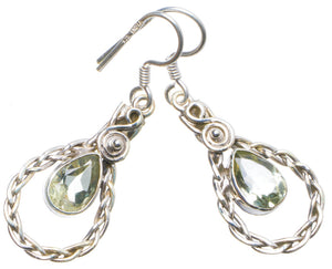 "Natural Green Amethyst Handmade Unique 925 Sterling Silver Earrings 1.5"" X4928"