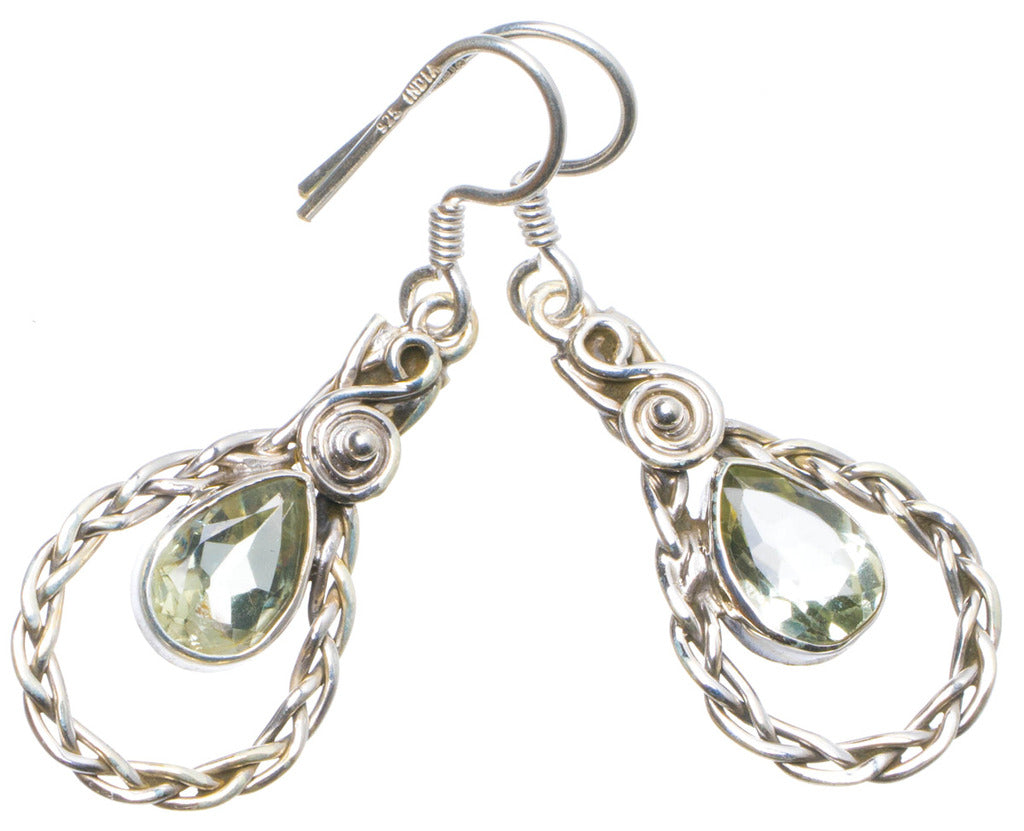 Natural Green Amethyst Handmade Unique 925 Sterling Silver Earrings 1.5