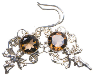 "Natural Smoky Quartz Handmade Unique 925 Sterling Silver Earrings 1.5"" X4966"