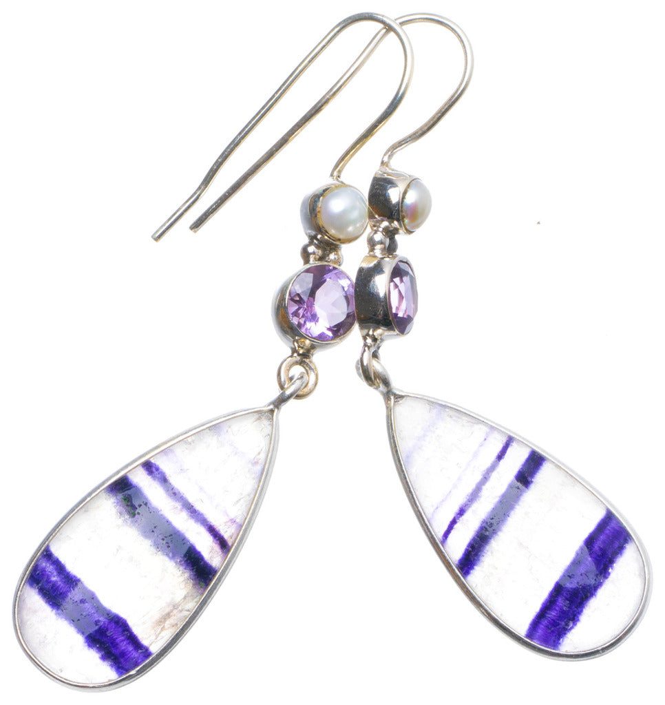 Natural Fluorite,Amethyst and River Pearl Handmade Unique 925 Sterling Silver Earrings 2.25