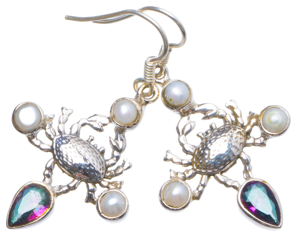 Natural Mystical Topaz and River Pearl Handmade Unique 925 Sterling Silver Earrings 1.75