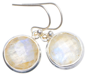"Natural Rainbow Moonstone Handmade Unique 925 Sterling Silver Earrings 1.25"" X5008"
