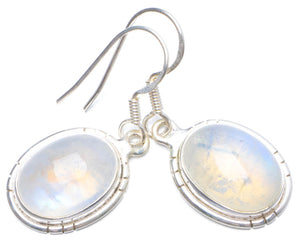 "Natural Rainbow Moonstone Handmade Unique 925 Sterling Silver Earrings 1.25"" X5035"
