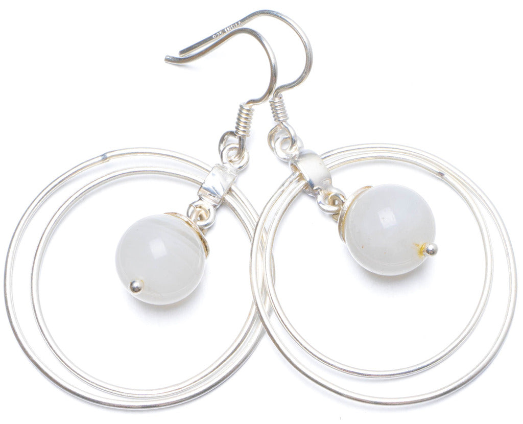 Natural Moonstone Handmade Unique 925 Sterling Silver Earrings 1.75