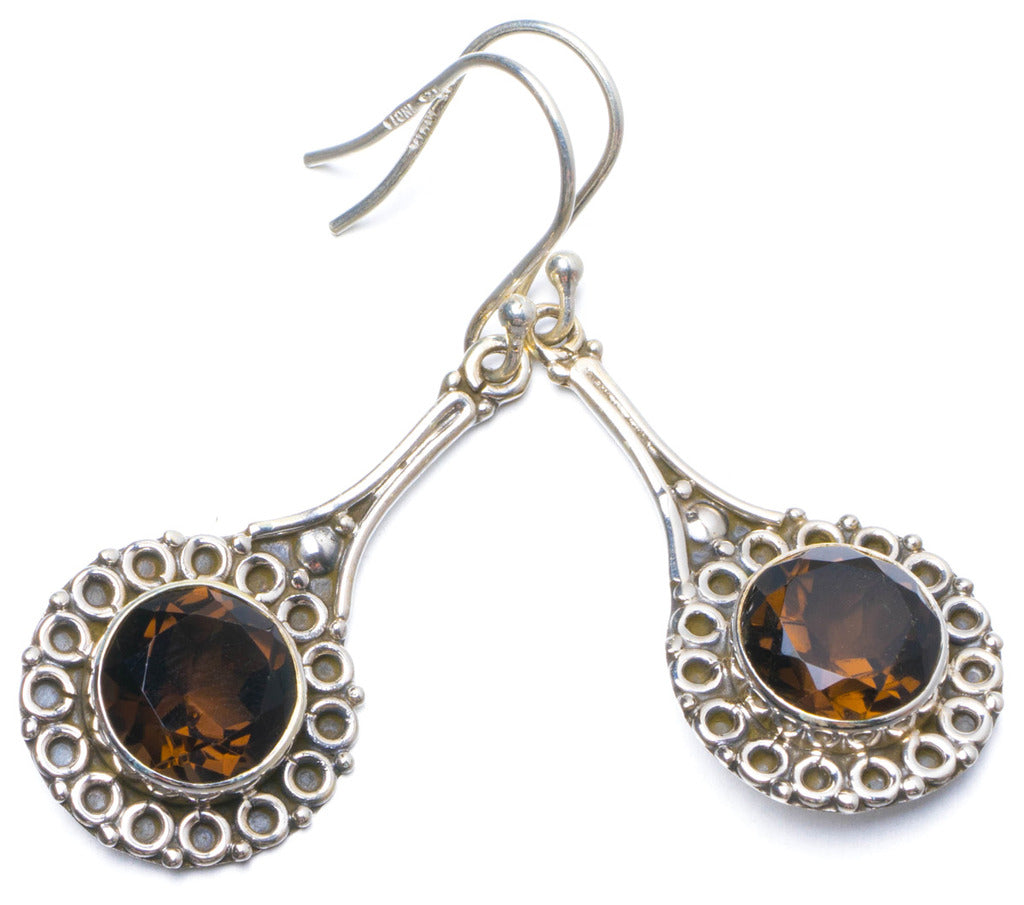 Natural Smoky Quartz Handmade Unique 925 Sterling Silver Earrings 2
