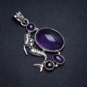 "Natural Amethyst Handmade Unique 925 Sterling Silver Pendant 1.5"" X0065"