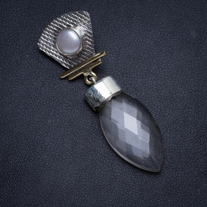"Natural Two Tones White Topaz and River Pearl Handmade Unique 925 Sterling Silver Pendant 2"" X0072"