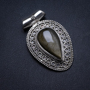 "Natural Black Cat Eye Handmade Unique 925 Sterling Silver Pendant 1.5"" X0316"
